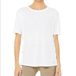NWT White Alo Yoga Bliss Short Sleeve Top/Shirt